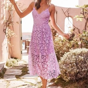 """NWT ASTR the Label Lace Midi Dress """"Light Orchid"""""""
